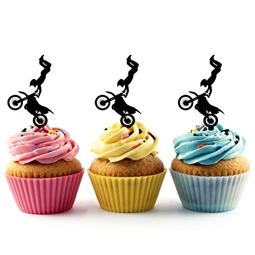 TA0197 Extreme Sport Freestyle Motocross Silhouette Party Wedding Birthday Acrylic Cupcake Toppers Decor 10 pcs -