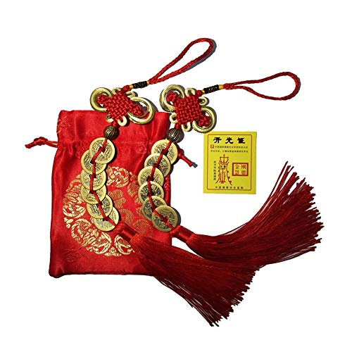 Homer-wa Chinese Feng Shui Money Coins Lucky with Handmade Red Enless Knot Decoration for Wealth and Success Chinese New Year - 2 Sets of 6 Coins Office Decorations