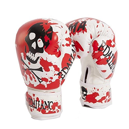 Red Skulls Womens/Mens Boxing Gloves for Muay Thai/MMA/Karate/Taekwondo Guantes 10 OunceLuva De Boxe by Amulet789