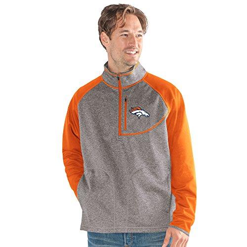 G-III Sports NFL Denver Broncos Mountain Trail Half Zip Pullover, Medium, Gray