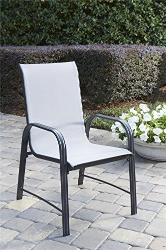oor Living Paloma Steel Patio Dining Chairs, 6-Pack, Light/Drak Gray ()