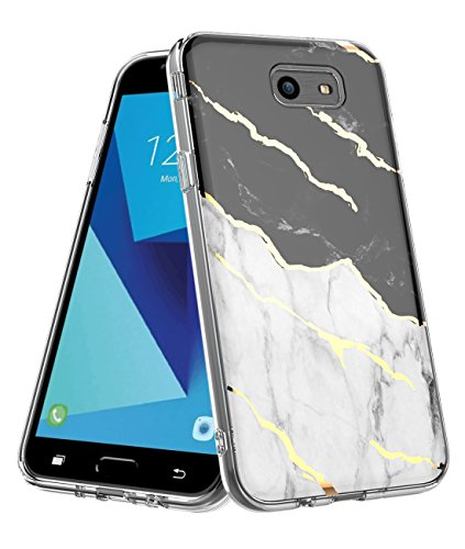 Galaxy J7 Case 2017, Marble Design Clear Bumper Protection Hybrid Armor Shockproof TPU Soft Rubber Silicone Cover Phone Case for Samsung J7 Prime/J7 Sky Pro/J7 V Case (Black Marble)