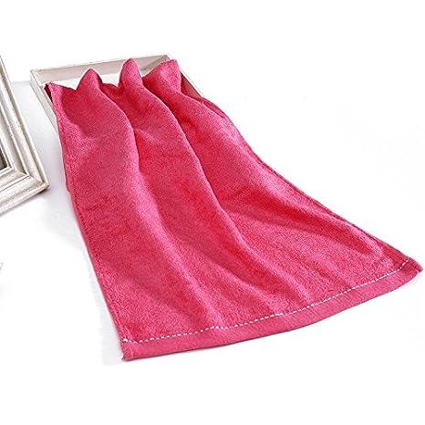 Mano towel-bamboo Cable de carbón de bambú toalla suave absorbente toalla de cara lavar plata parte lateral, rojo: Amazon.es: Hogar