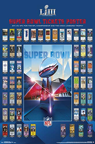 Super Bowl Ticket Poster - Trends International Super Bowl LIII-Tickets Mount Bundle Wall Poster, 22.375