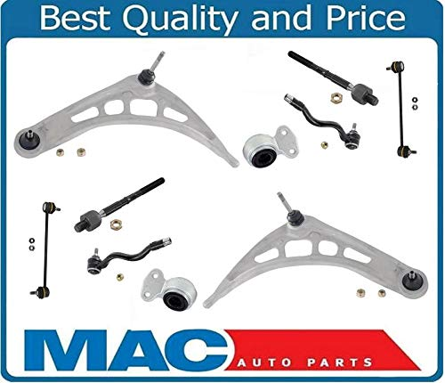 8 BMW E46 Control Arm Ball Joint Tie Rods Sway Bar Links Suspension Kit 323i 330i ()