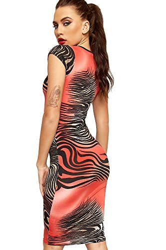 Short Midi WearAll Dress Slinky Animal Womens Bodycon Sleeve Red Tiger Print RRXFSaq