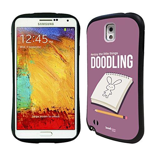 Head Case Designs Doodling Enjoy The Little Things Hybrid Gel Back Case for Samsung Galaxy Note 3 N9000 N9002 N9005