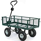 Yaheetech Heavy Duty Steel Crate Yard Garden Barn Wagon 800 lbs Green 48 x 24 x 25 Inches