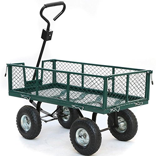 Yaheetech Heavy Duty Steel Crate Yard Garden Barn Wagon 800 lbs Green 48 x 24 x 25 Inches by Yaheetech