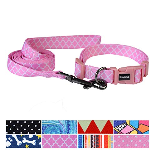 Ihoming Pet Collar Leash Set Halloween Bat Combo Safety Set for Daily Outdoor Walking Running Training Small Medium Large Dogs Cats Moroccan Trellis Pink Extra -