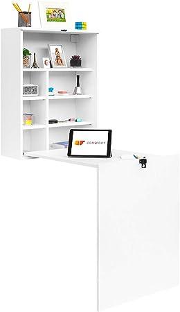 Oferta amazon: COMIFORT Escritorio Colgante - Mesa de Pared Plegable con Librería de Estructura Firme, Moderna y Minimalista con Baldas Espaciosas y de Gran Capacidad, Color Blanco