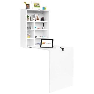 COMIFORT TC82B - Escritorio de Pared Plegable, Mesa Abatible Colgante de Pie Convertidor, Color Blanco o Roble (Blanco): Amazon.es: Hogar