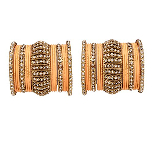 (Ratna Indian Bollywood Antique Gold Plated Women Traditional Bridal Wedding wear Bangles Set Jewelry (Peach, 2.8) )