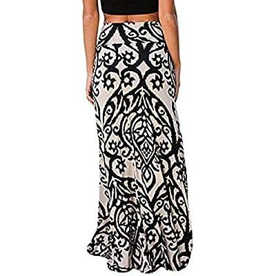TOPUNDER Vintage Long Maxi Skirt for Womens Coral Print High Waist Skater Skirts Ladies