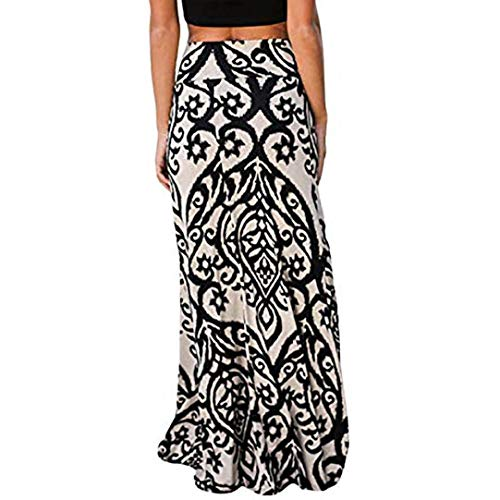 - Vintage Long Maxi Skirt for Womens Coral Print High Waist Skater Skirts Ladies Beige