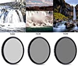 72mm Neutral Density Professional Camera Lens Filter Set (ND2 ND4 ND8), ND Filters with 72mm Filter Thread + Filters Pouch