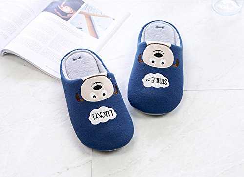 Shevalues Cute Dog House Slippers With Waterproof Sole Blue UH8V8
