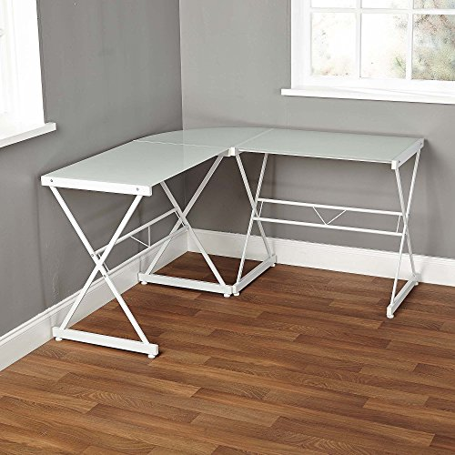 Classy Atrium Metal and Glass L-shaped Computer Desk, Durable Tempered Glass and Sturdy Metal Frame, Elegant Addition to Home and Office Furniture, Multiple Colors (L: 51.00 x W: 51.00 x H: 29.00 in) by TMS (Image #1)