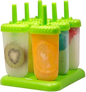 Popsicle Molds Set – 100% BPA Free – Set of 6 Reuseable Ice Pop Makers, Tupperware Quality with Sturdy Base, Popsicle & Ice Cream Recipes E-book Included, Great Gift – By The Kitchen Paradise (Green)