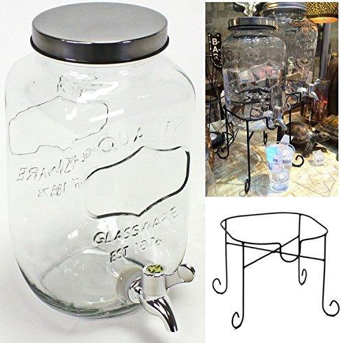 LS Design Getränkespender Saftkanne Saftspender Glas Zapfhahn 8 Liter Gestell