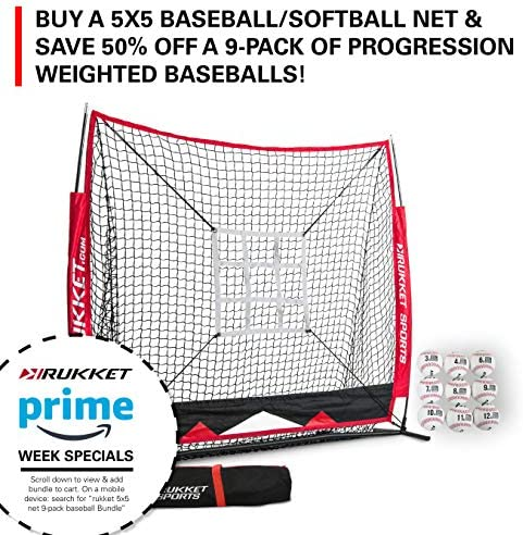Rukket 5x5 Baseball Softball Net Practice Hitting, Pitching, Batting and Catching Backstop Screen Equipment Training Aids Strike Zone Target