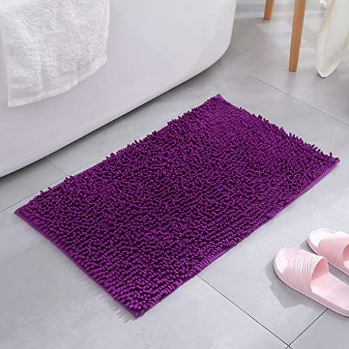 YangMi Bathroom mat- Household Chenille Bathroom Mat, Kitchen Bedroom Mat Bathroom Absorbent Mat Bathroom Mat (Color : Purple, Size : 60x40cm)