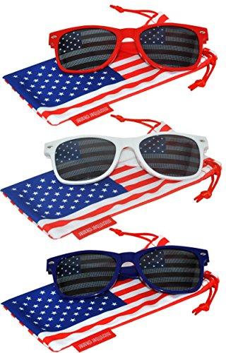 Classic American Patriot Flag Sunglasses USA American Flag Lens Red Blue White Frame (Patriot Red White Blue Frame)