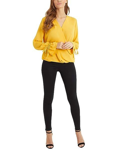 Lipsy Mujers Blusa Cruzada De Mangas Largas Acampanadas Amarillo EU 32 (UK 4)
