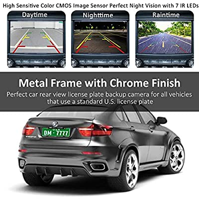 License Plate Frame Backup Camera Night Vision Car Rear View Camera 170° Viewing Angle Waterproof High Sensitive Universal 7 Bright LED Reversing Car Camera Upgrade Version: Car Electronics