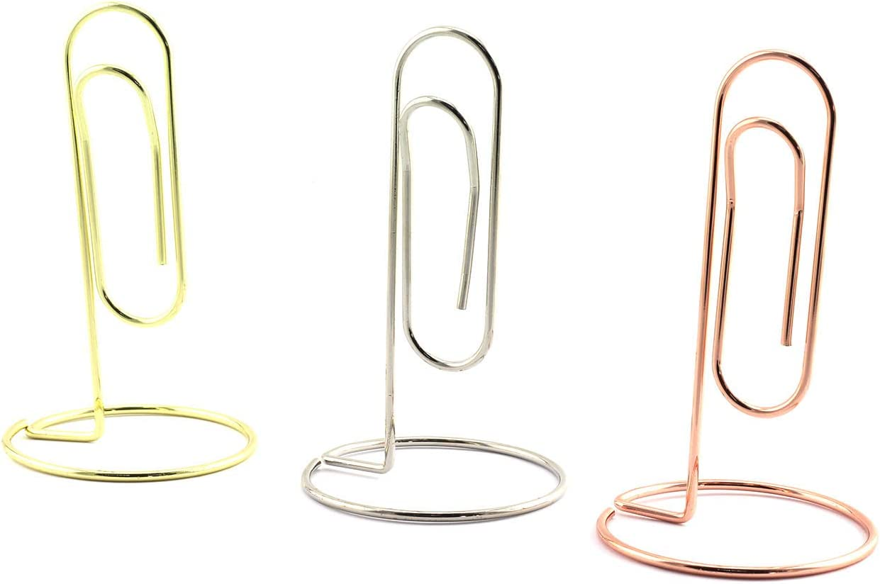 RuiLing 6pcs Metal Memo Clip Large Paper Clip Head Card Holder Display Stand for Place Cards, Photos, Food Labels, Weddings, Parties, Table Name Number Holders (Gold, Silver, Rose Gold)