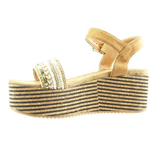 Angkorly - Chaussure Mode Sandale Mule plateforme femme liège lignes bijoux Talon compensé plateforme 7 CM - Camel