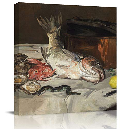 BULING Canvas Wall Art Canvas European Painting Édouard Manet - Fish(Still Life) 12x12 inch Artwork Prints for Home Living Room Bedroom Wall Decor Framed Ready to Hang ()