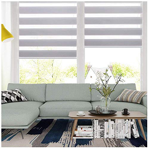 LUCKUP Horizontal Window Shade Blind Zebra Dual Roller Blinds Day and Night Blinds Curtains,Easy to Install 19.7″ x 59″, Grey …