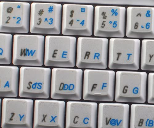 ROMANIAN KEYBOARD STICKERS WITH BLUE LETTERING TRANSPARENT BACKGROUND