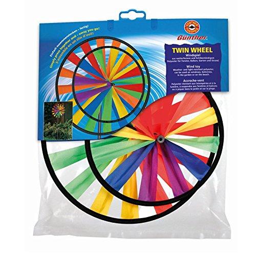 Windspiel Twin Wheel 70x28cm Garten Dekoration Windrad Windm/ühle Beet Balkon Gartenwindm/ühle