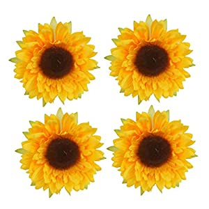 "YEDREAM Artificial Sunflower Heads, 2.8"" Fake Simulation Flower Head for Home Party Wedding Cake Decoration 10"