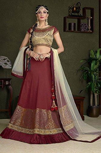 IWS Womens Silk Fabric Maroon Pretty Circular Lehenga Style 83889