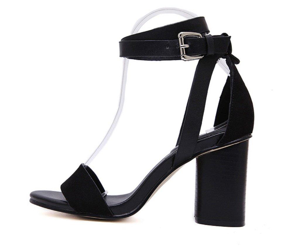 ZPL Damen Block Hacke Knöchel Gurt Sandalen Schwarz Riemchen Sommer Peep Toe Riemchen Schwarz Party Schuhe Größe 3-7 schwarz 2740cc