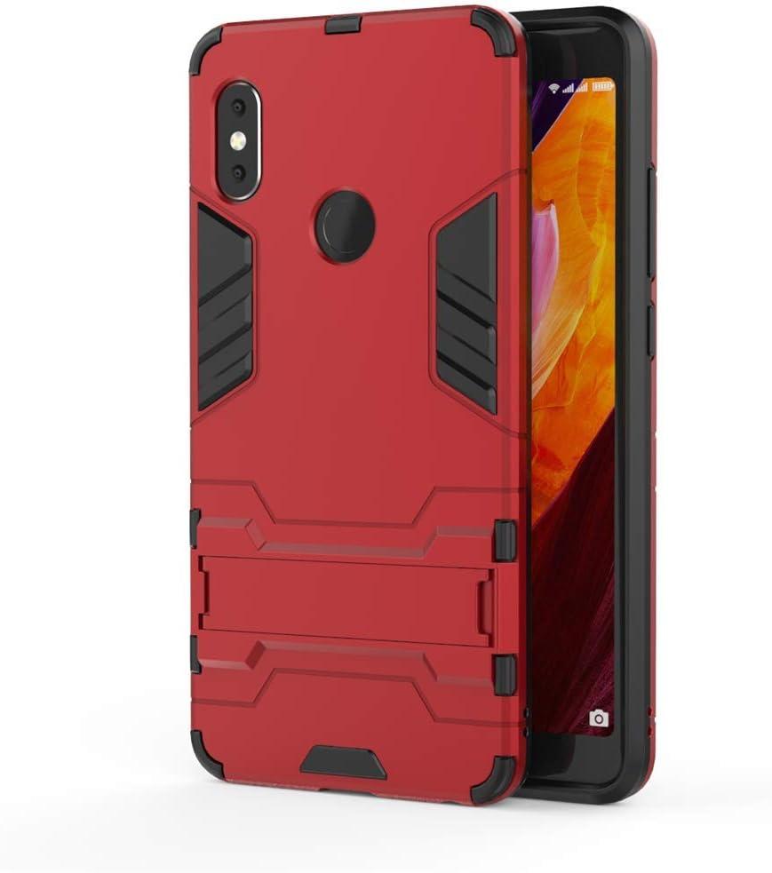 Xiaomi Redmi Note 5 Pro/Redmi Note 5 Funda, MHHQ 2in1 Armadura A Prueba de Choques Heavy Duty Escudo Cáscara Dura PC + Suave TPU Silicona Case Cover con soporte para Xiaomi Redmi Note 5 Pro -Red