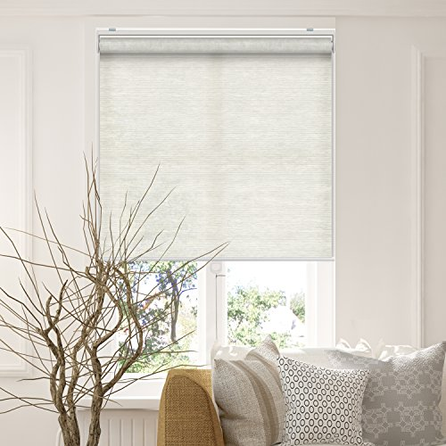 CHICOLOGY Snap-N'-Glide Cordless Roller Shades Smooth Privacy Window Blind, 27″ W X 72″ H, Felton Sand (Privacy and Natural Woven)