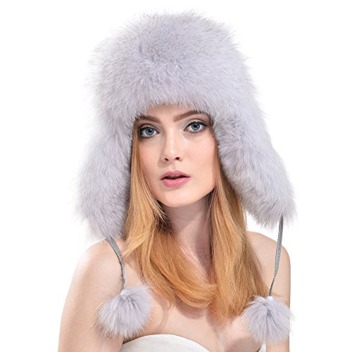 Bellerfur Lady Real Leather Fox Fur Trapper Hat with Fur Pompom Blue