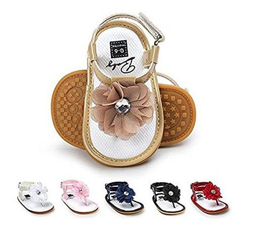 BENHERO Infant Baby Girls Flower Anti-Slip Rubber Sole Prewalker Toddler Sandals (12cm(6-12Months), 1974 Black)