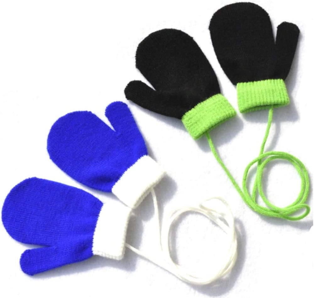 Teensery 2 Pairs Baby Winter Stretch Gloves Cute Thickening Warm Full Finger Knitted Warm Mittens with String for Infant Toddler Unisex Boys Girls