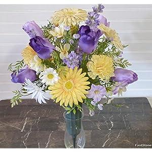 Spring Cemetery Vase, Cemetery Arrangement with Tulips, Cemetery Floral Arrangement 22
