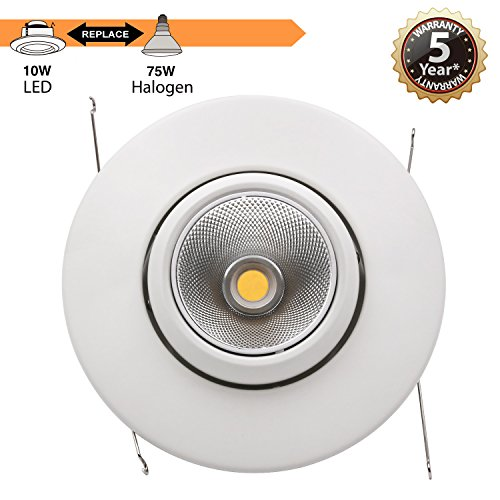 TORCHSTAR High CRI90+ 6inch Dimmable Gimbal Recessed LED Downlight, 10W (75W Equiv.), ENERGY STAR, 5000K Daylight, 950lm, Adjustable LED Retrofit Lighting Fixture, 5 YEARS WARRANTY, Pack of 4 by TORCHSTAR (Image #3)
