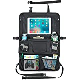 Car Back Seat Organizer for Kids & Toddler with Larger Protection & Storage - Kick Mat BackSeat Protector With Large Tablet Holder Touch Screen - Insulated Wipes Pocket - Coverts to Stroller Organizer