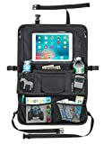 Best Back Seat Car Organizer for Kids Toddler With Large Tablet Holder Touch Screen - Kick Mat BackSeat Protector - Thermos Cup Holder - Insulated Wipes Case Pocket - Coverts to Stroller Diaper Bag