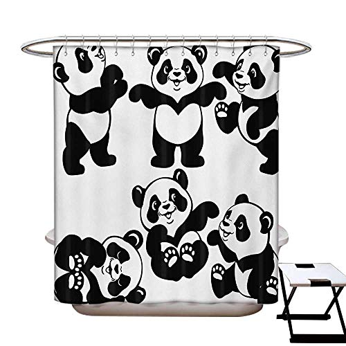 BlountDecor Nursery Shower Curtains with Shower Hooks Set with Playful Panda Bear in Monochrome Style Happy Young Zoo Animal Childhood Fabric Bathroom Set with Hooks W54 x L78 Black White -