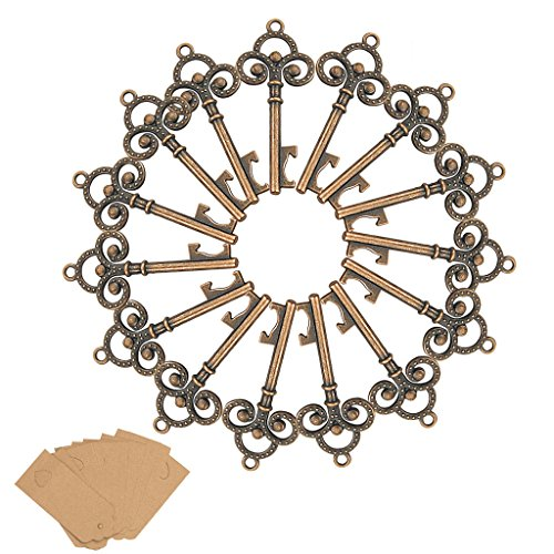 50Pcs Key Bottle Openers Skeleton-YuQi Wedding Favors With 50pcs Escort Card Tag,Wine Bottle Decorative Accessories Sets For Guests Party Rustic,Kid's Birthday,Communion,Baby Showers Home Decorations