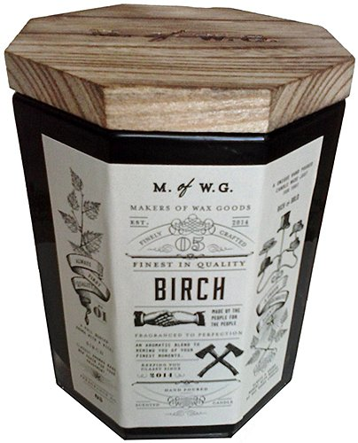 Makers of Wax Goods Large Richly Scented Candle Wood Wick -- (Birch Wax Candle)